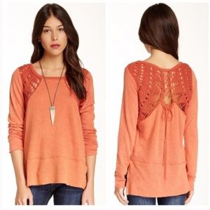 Free People Long Sleeve Crochet Knit Lace Up Top